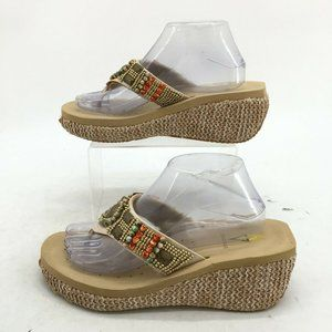Volatile Beaded Flip Flop Wedge Sandals Womens 9 Tan Leather Woven Sole Casual